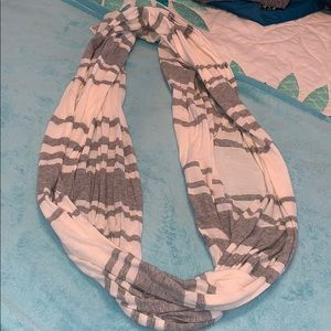 Accessories - light gray and white striped infinity scarf